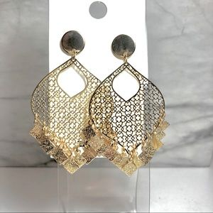 NWT Express Gold Tone Filigree Teardrop Earrings